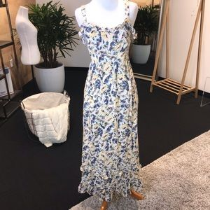 Anthropologie Yellow/Blue Floral Dress - Size 2